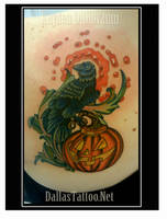 Crow Pumpkin Halloween Tattoo by kayden7