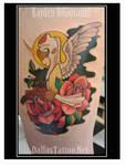 Deer Girl Rose Tattoo