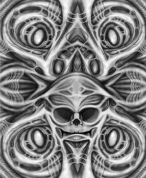 Biomechanical Skull Art