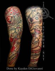 biomech biomechanical sleeve tattoo dallas denver by kayden7