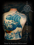 The Great Wave Backpiece tattoo by kayden7