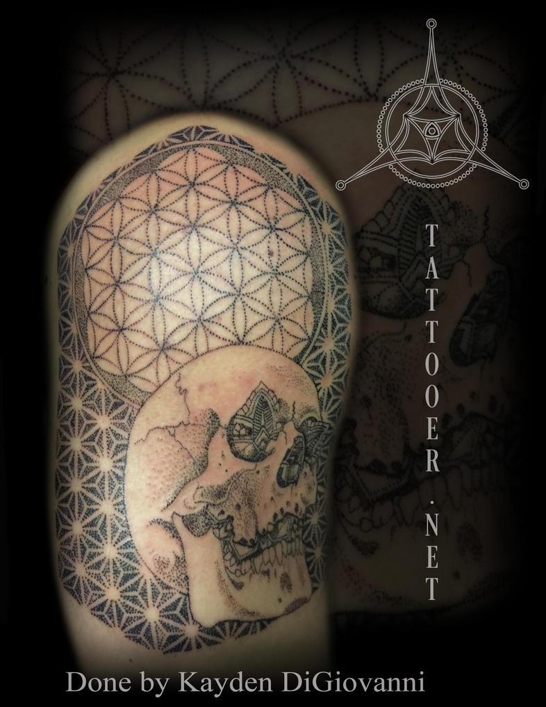 Dallas Tattoo Artist skull dotwork stipple mandala by kayden7