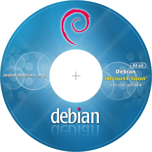 Debian 6 CD-DVD Label 64 bit 300dpi