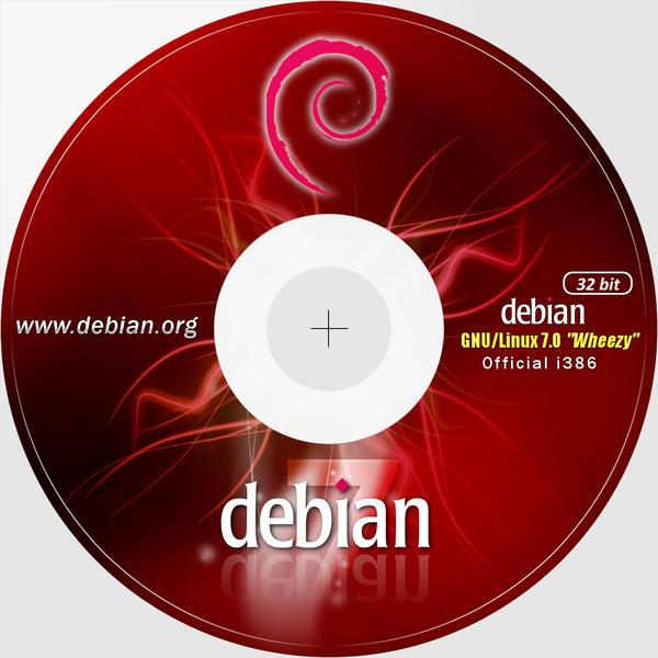 Debian 7 32bit CD-DVD Label 300dpi