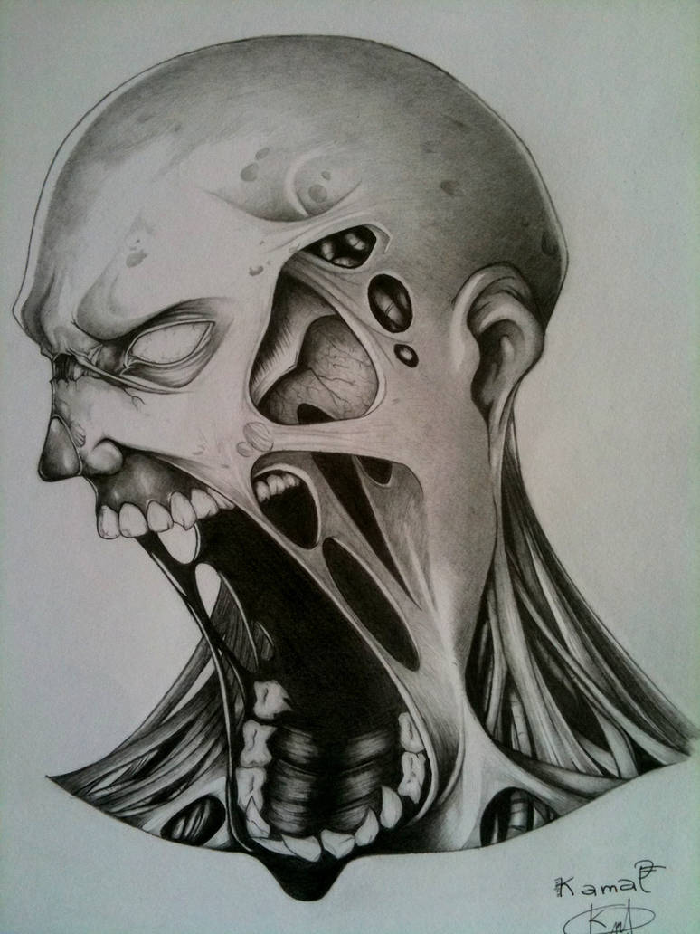 Pencil drawing of a zombie by darkman619x