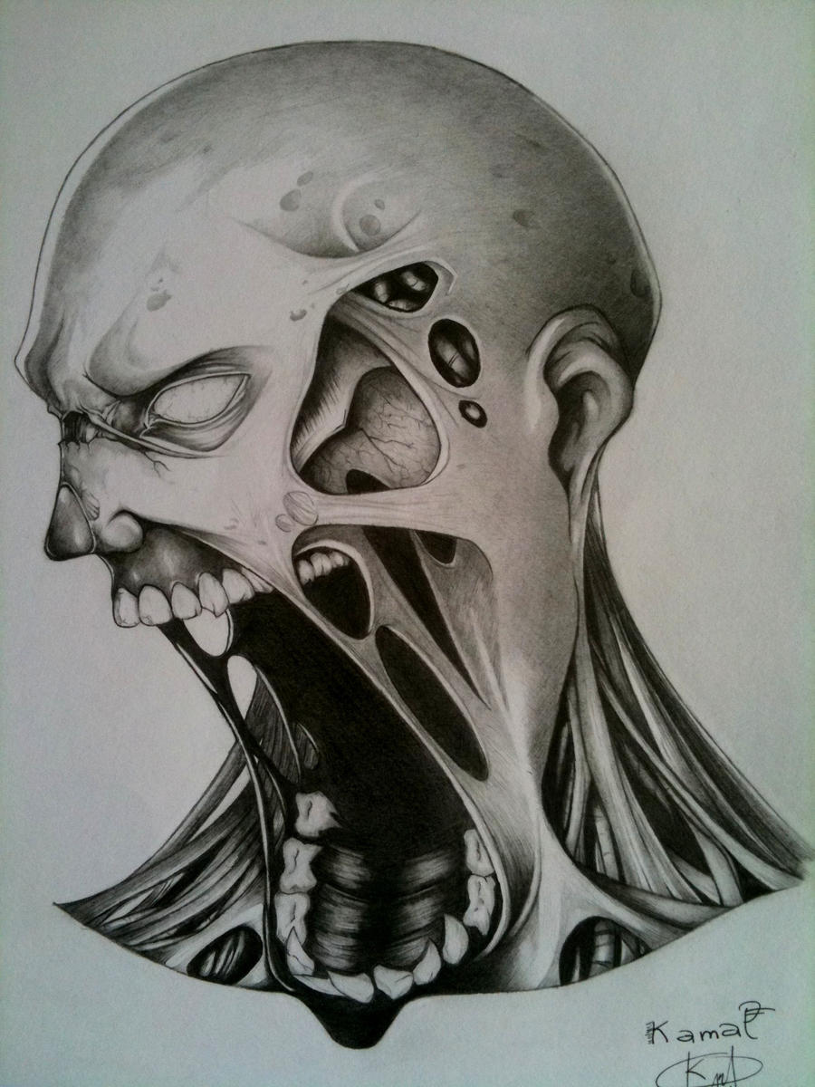pencil drawing of a zombie by darkman619x traditional art drawings    Zombie Face Drawing