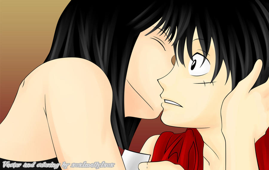 Robin x Luffy Doujinshi Kiss by xox1melly1xox