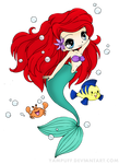 Little Mermaid Line Art Colored