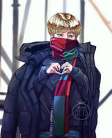 Red Scarf Jimin by Lama0113