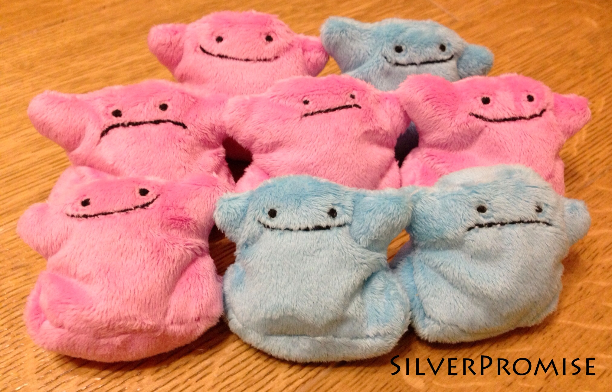 Tiny Ditto beanie plushies! by SilverPromise