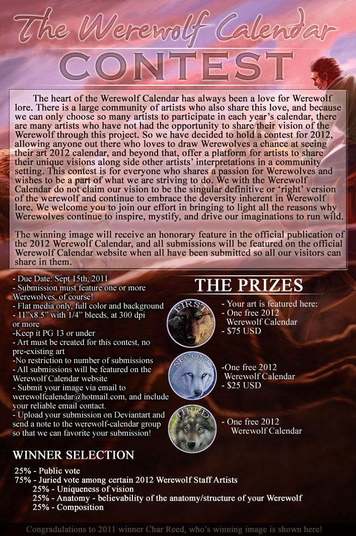 Calendar Art Contest : Werewolf calendar contest by sarahfinnigan on deviantart