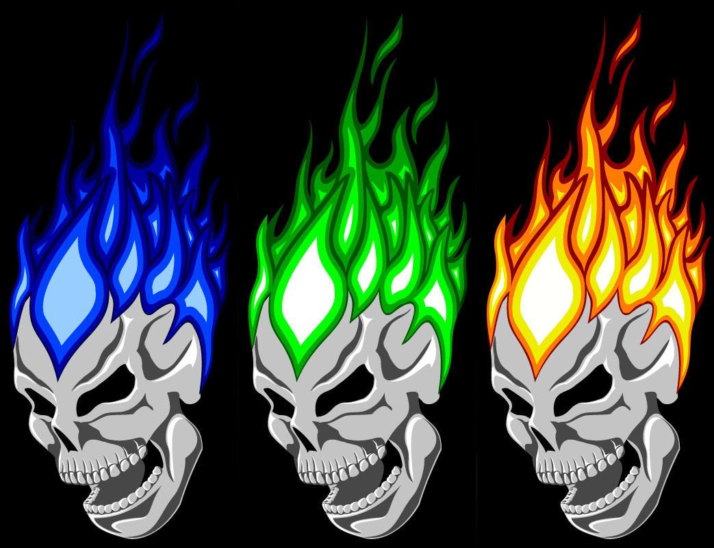 Green Flaming Skull | www.imgkid.com - The Image Kid Has It!