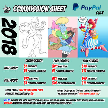 Commission Sheet 2018 by JAMEArts