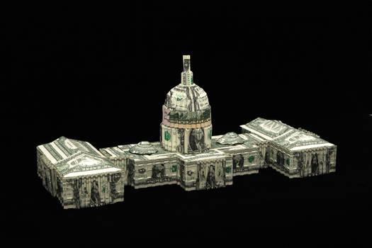 U.S. Capitol building Made wilth dollar bills