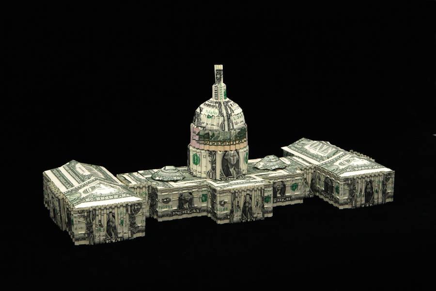 U.S. Capitol building Made wilth dollar bills by orudorumagi11
