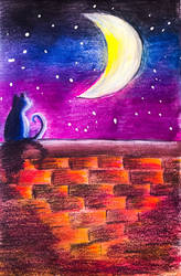 Cat and the Moon by DynamicFlamez