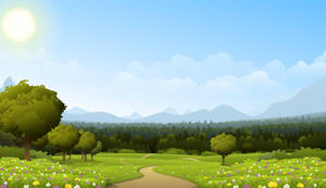 Road through meadow by Fenris-V