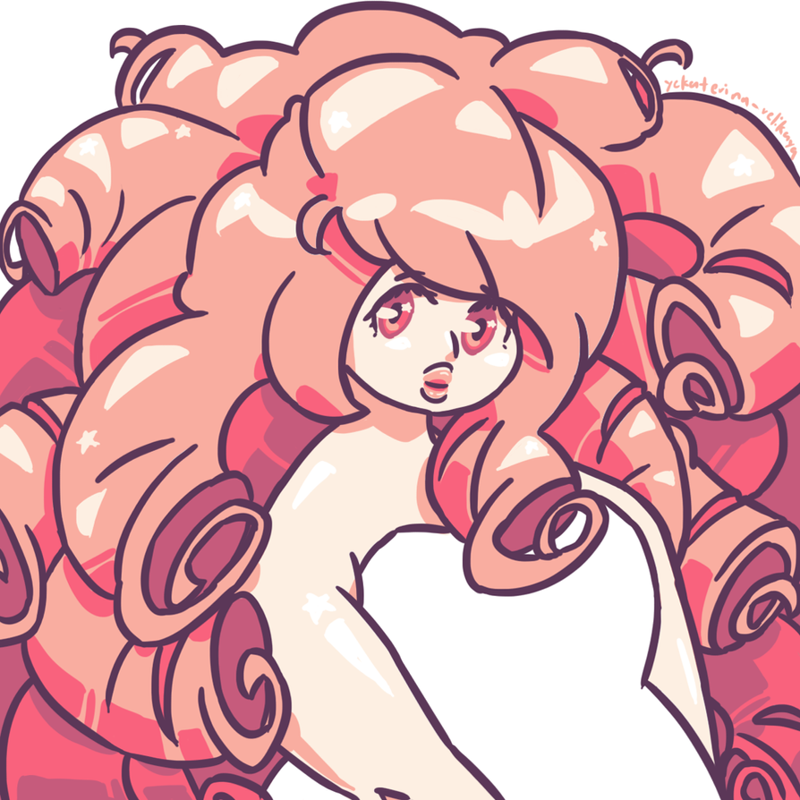 Rose Quartz!~ A beautiful rock woman that i love.  Spent some time on this, for once XD dat big hair.