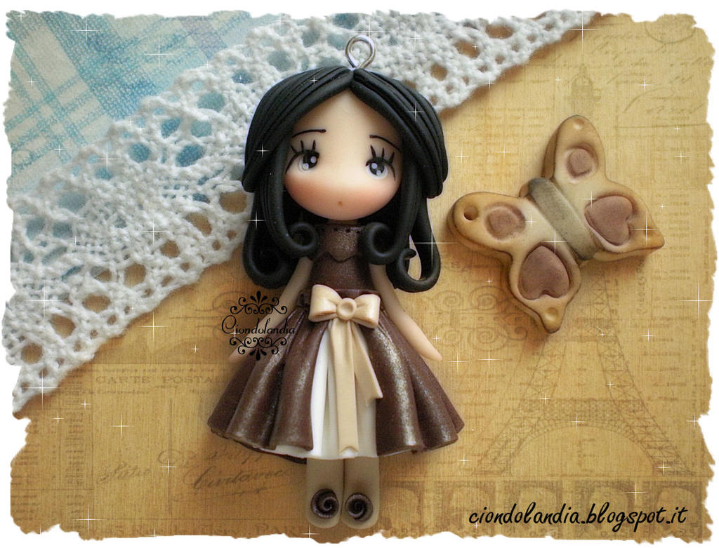steampunk doll butterfly fimo by ciondolandia image