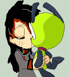 I kissed Gir and i liked it. by Ask-BlazeTheKiller
