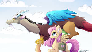Discord And Fluttershy: Flying as Friends