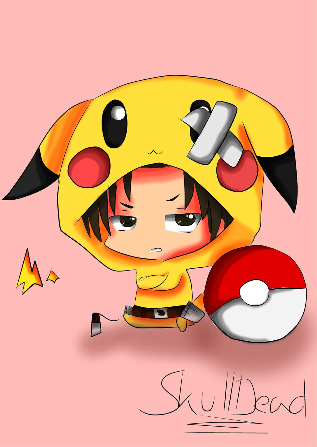 Levi Chibi Pikachu Attack On Titan By SkullDead