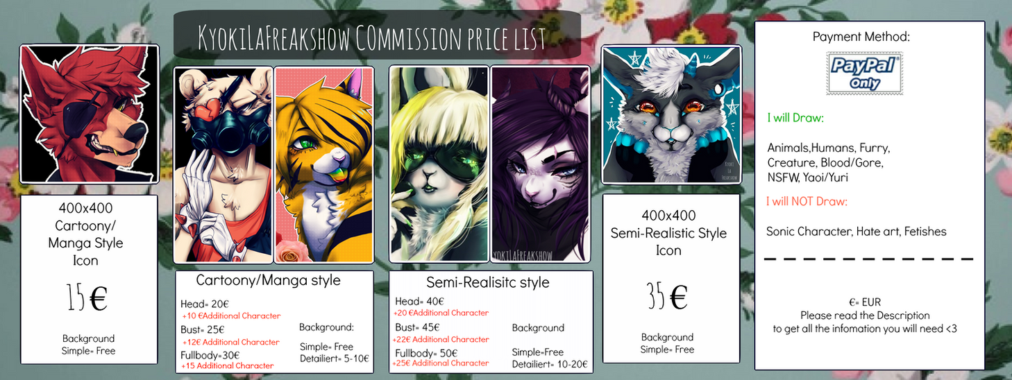 Commission Pricelist 2017 (Open again) by KyokiLaFreakshow