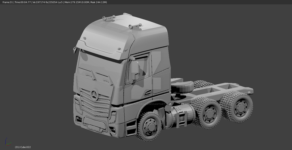 Mercedes Benz Actroz - Semi Truck - Blender by