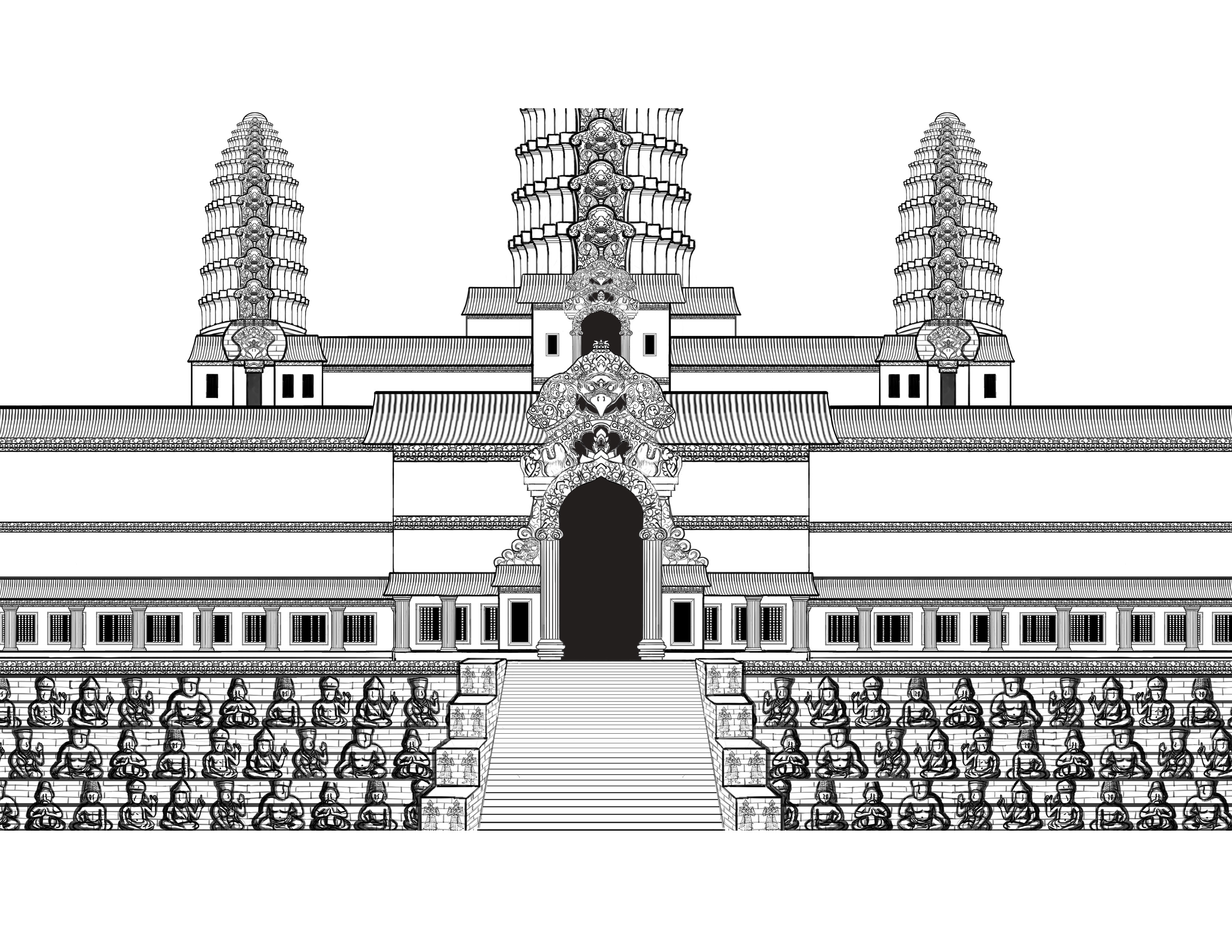 It's just an image of Lucrative Angkor Wat Drawing