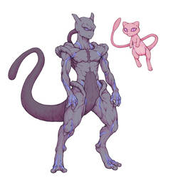 Mewtwo and Mew by kenji893