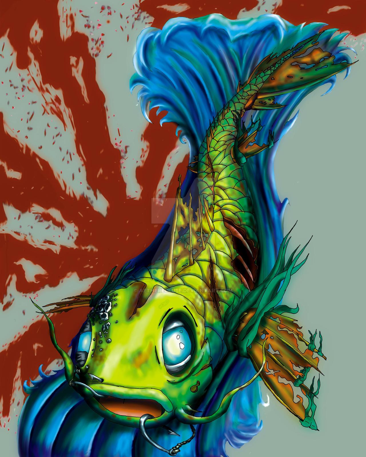 Zombie koi by aetherecluse on deviantart for Koi carp artwork