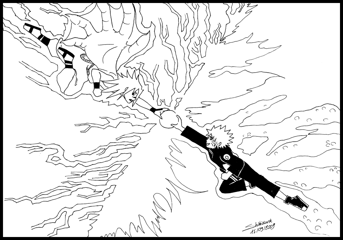 Naruto VS Sasuke NB BW By Shikidark On DeviantArt