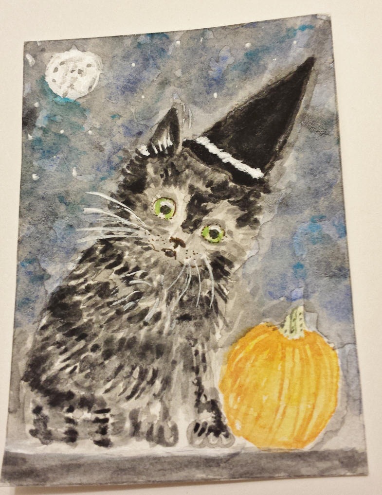 black kitty cat in  the Halloween spirit by tulipteardrops