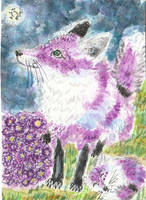 Lilly and Lady  purple  fox  aceo by tulipteardrops