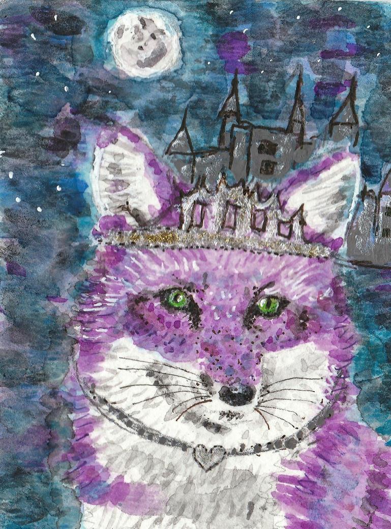 Princess Jasmine  purple fox watercolor aceo by tulipteardrops