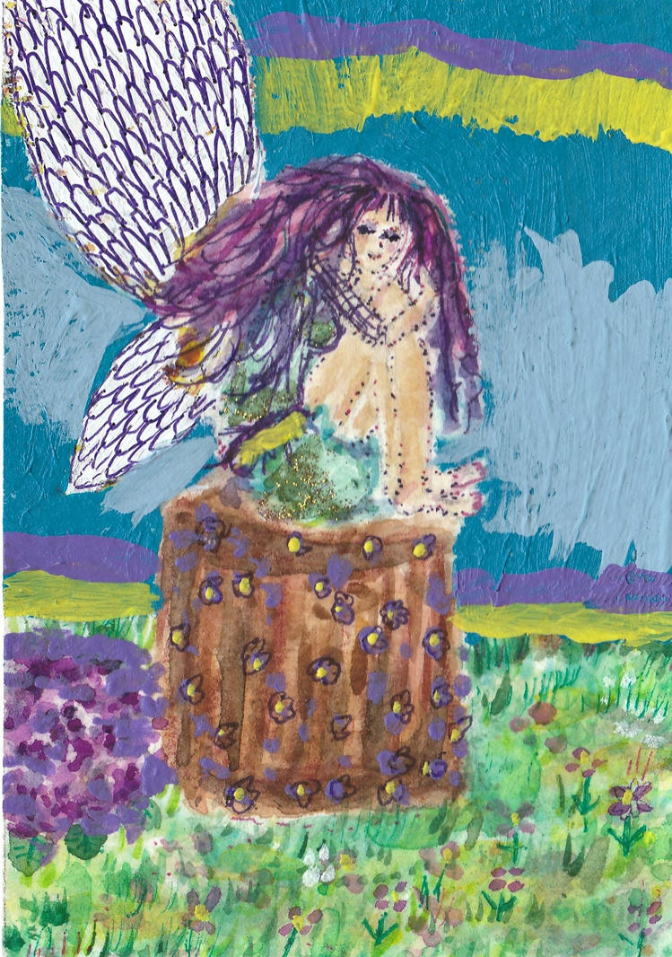 Sleeping  Fairy  painting aceo by tulipteardrops