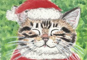Happy Tabby  cat in Christmas hat  watercolor by tulipteardrops