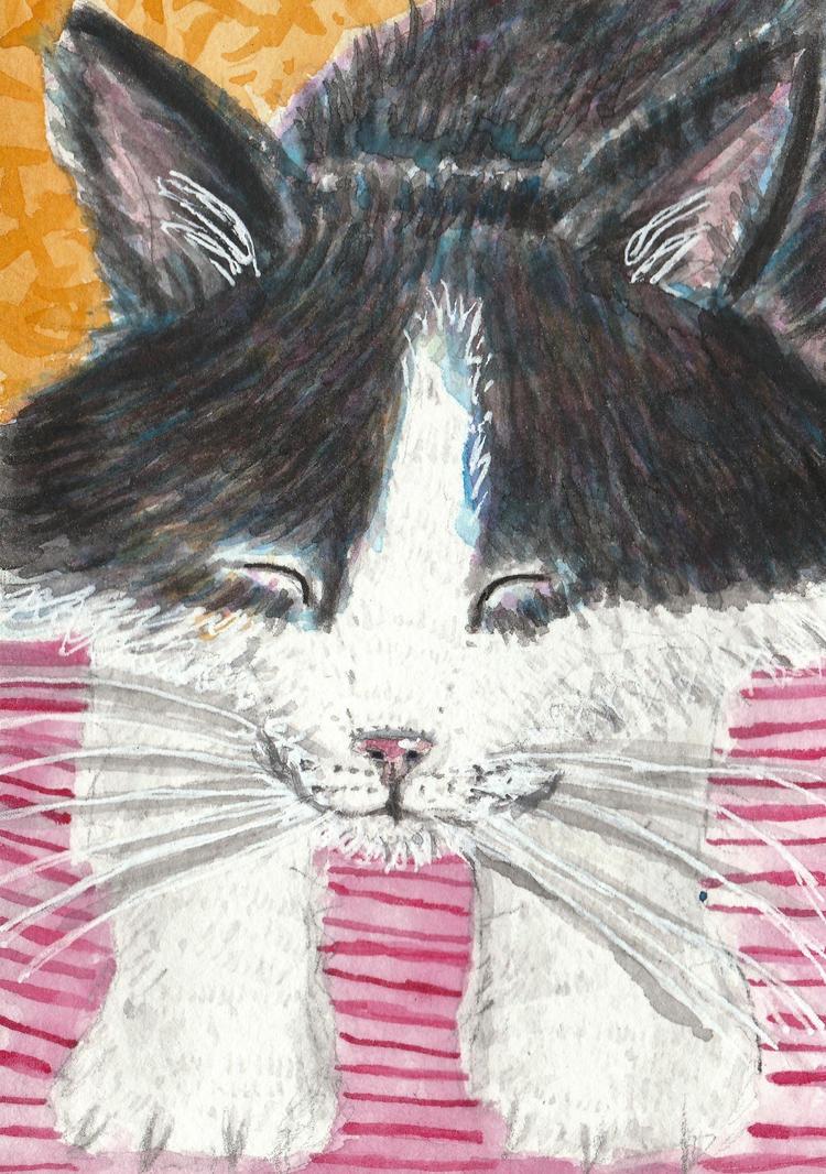Sleeping  kitten cat watercolor painting by tulipteardrops