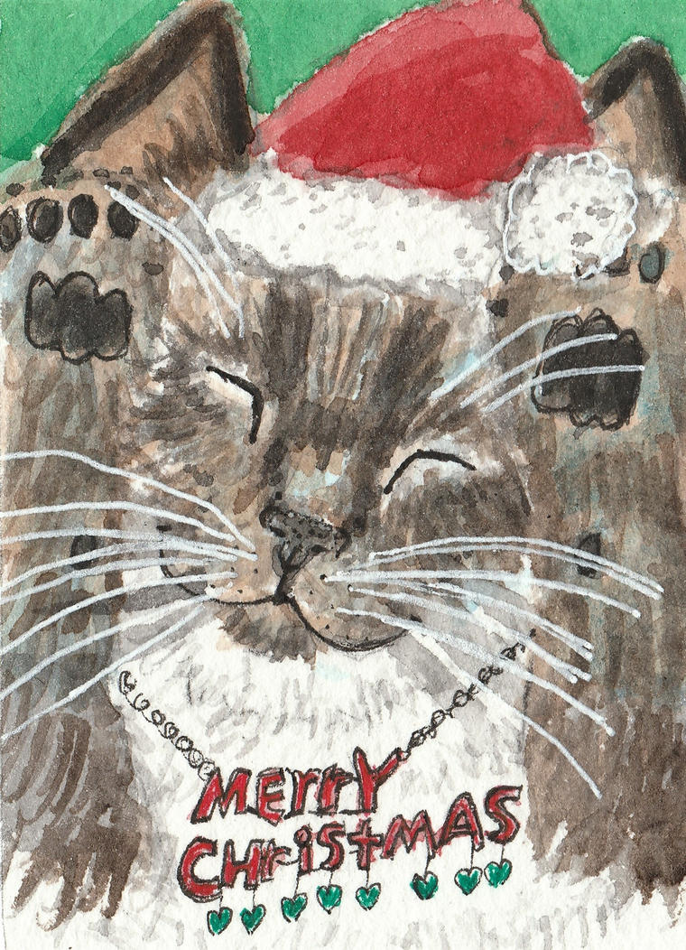 Christmas Happy  cat  watercolor  aceo by tulipteardrops