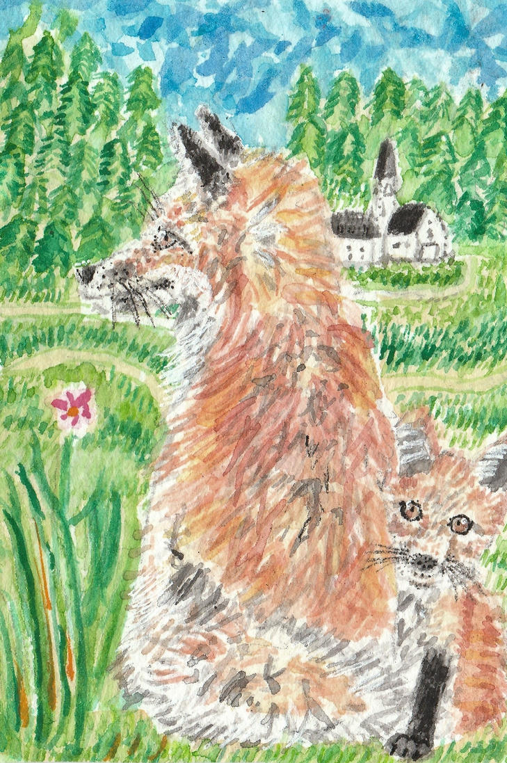 Fox family watercolor  ACEO oirginal painting by tulipteardrops
