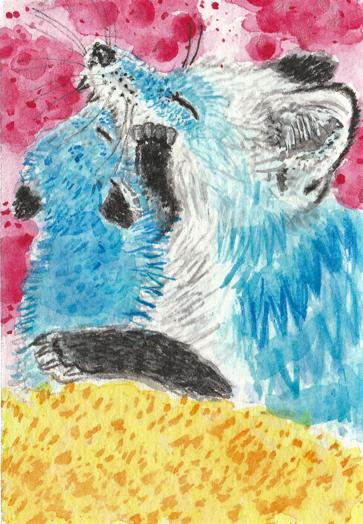 Mother and baby fox blue  watercolor  aceo by tulipteardrops