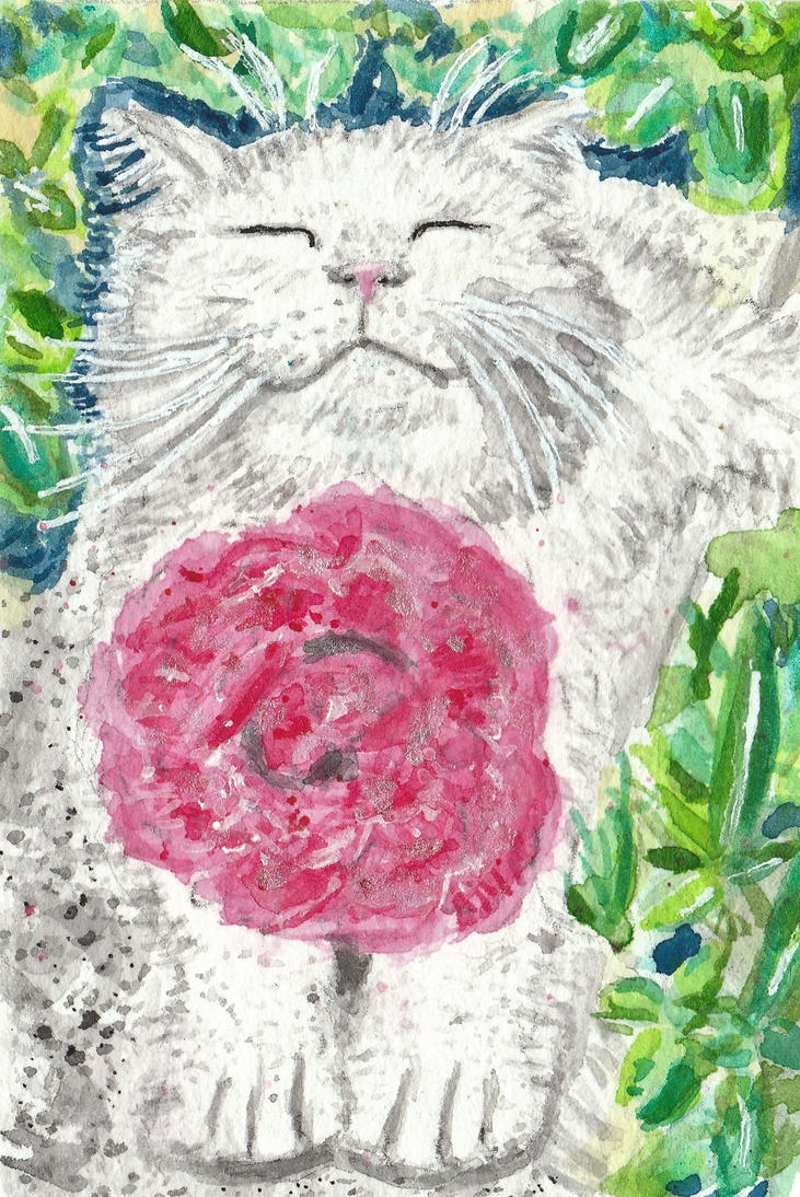 Happy cat  flower watercolor  ACEO original by tulipteardrops