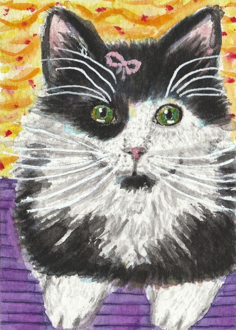 Kit  Kat  kitten cat watercolor aceo original by tulipteardrops
