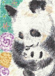 Mother and baby panda bear aceo painting by tulipteardrops