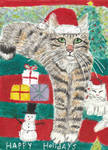 Happy Holidays cat watercolor painting