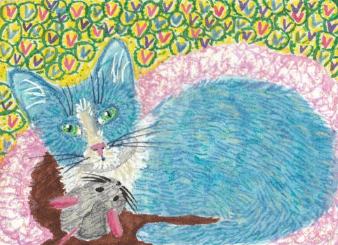 kitten cat with mouse toy aceo