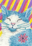 Happy cat aceo painting
