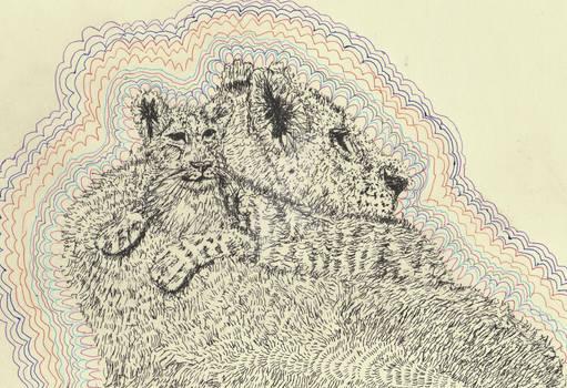 lion pen drawing