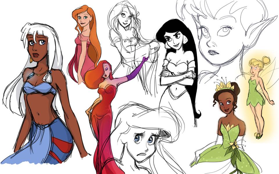 Disney Girl Sketches by AzaleasDolls