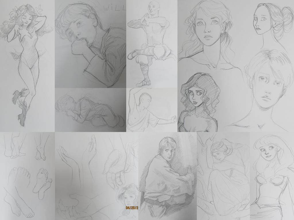 Random sketches by AzaleasDolls